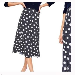 BODEN Floaty Polka Dot Midi Skirt navy new tags